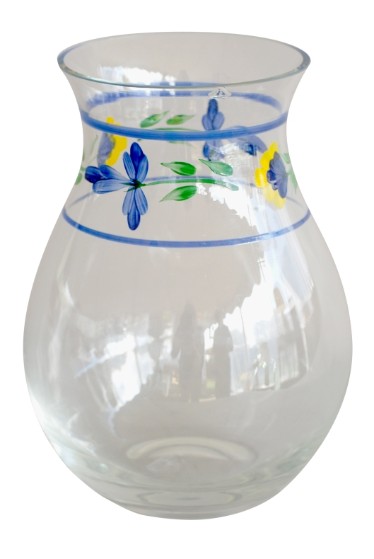 07 Hand painted glass vase w-floral design chipped blue-green-yellow