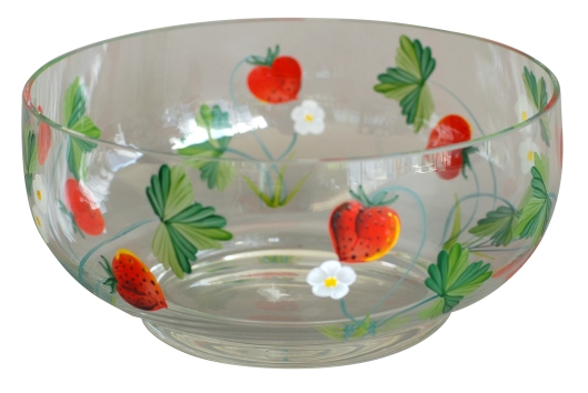 08 Glass bowl handpainted strawberry design