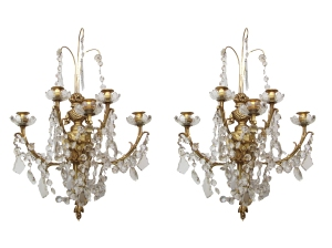 Pair of French crystal sconces2